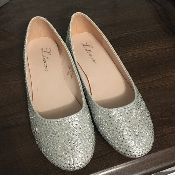 Shoes   Womens Silver Sparkly Flats